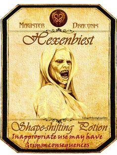 Halloween Hexenbiest Potion Label