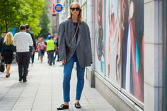 Street Style with a men's cut jacket. I love throwing some menswear into the mix. Right now I am looking for some vintage men's tuxedo pants to alter.