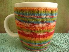 Mug Sock Knit in Sock Yarn Gift Idea