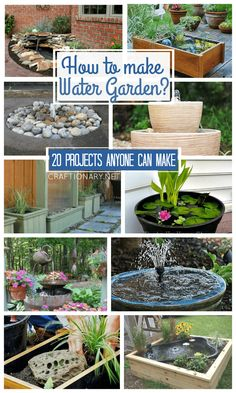 DIY Water Gardens anyone can make with easy tutorials Diy Water Feature, Backyard Water Feature, Ponds Backyard, Backyard Landscaping, Garden Ponds, Patio Pond, Backyard Waterfalls, Koi Ponds, Container Pond