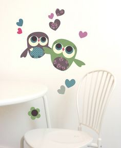Children Wall Decals Owls Fabric Wall Sticker not by chocovenyl, $23.00