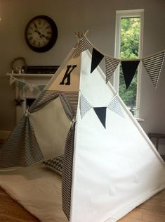 Teepee tent with custom applique / monogram by MapleandSpudDesigns