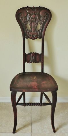 The chair is very sturdy. The seat height is We take all of our pictures in the natural sunlight. Side Chairs, Dining Chairs, Fantasy Places, Desk Chair, Fairytale, Carving, Homes, Antiques, Face