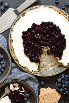 Use up your fresh blueberries in this No Bake Blueberry Cheesecake Pie made with homemade blueberry pie filling and graham cracker crust. Made without Cool Whip.
