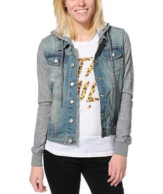 Get the street style of a denim vest and the comfort of your favorite hoodie all rolled into one in the Thread & Supply hooded denim jacket. The light Blue wash of the denim body compliments the Heather Grey knit sleeves and removable hood, making this Th