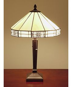 @Overstock - Illuminate a bedroom, living room, or office with this beautiful Tiffany style table lamp. Handcrafted by artisans trained in L.C. Tiffanys methods, this lamp offers a soft glow and features two pull chains. A heavy base provides stability.http://www.overstock.com/Home-Garden/Tiffany-style-Mission-style-White-Table-Lamp/1891848/product.html?CID=214117 $84.99