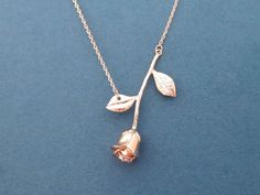 Beautiful, Rose gold, Rose, Necklace, Flower, Necklace, Lovers, Best friends, Birthday, Friendship, Valentine, Gift, Jewelry