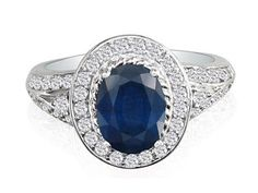 Oval Cut Sapphire Diamond 14K White Gold Ring Available Exclusively at Gemologica.com