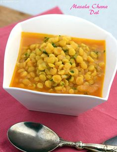 Masala Chana Dal, spiked up with tomato pulp and onions, laced with simple spice powders. You will love the soothing flavour of this easy dal.