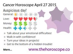 Auspicious day for #Cancer on April 27th 2015 #horoscope. Come back every day and see your daily prediction! http://www.thehoroscope.co/Cancer-Horoscope-tomorrow.php
