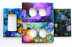 How to use Alcohol Inks to decorate your home's switch plates and outlet covers. Learn how to paint your home's plate covers with vibrant alcohol inks. Switch Plate Covers, Light Switch Plates, Light Switch Covers, Alcohol Ink Crafts, Alcohol Ink Art, Mesh Wreath Tutorial, Diy Tv, Do It Yourself Home, Custom Wood