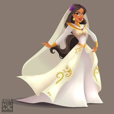 Princess Jasmine in her new and beautiful Wedding dress