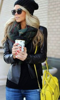 This plaid scarf goes so well with the leather jacket and neon tote bag