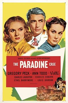 """Alfred Hitchcock directed """"The Paradine Case"""" (1947) movie poster."""