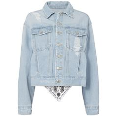SJYP Women's Scarf Back Distressed Denim Jacket (1.895 RON) ❤ liked on Polyvore featuring outerwear, jackets, light blue, collar jacket, light blue denim jacket, blue denim jacket, oversized jackets and cropped jean jacket