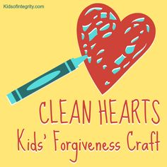 "Clean Hearts craft for kids to learn forgiveness. Colour hearts cut from cotton fabric with washable markers, then wash out the ""stains"" with a bleach solution. Sunday School Crafts For Kids, Bible Crafts For Kids, Preschool Bible, Sunday School Lessons, Preschool Crafts, Bible Object Lessons, Bible Lessons For Kids, Forgiveness Craft, Children's Church Crafts"