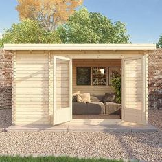 Buy The Cypress x Log Cabin at Waltons Garden Buildings. Shed Office, Backyard Office, Backyard Studio, Backyard Cottage, Backyard Sheds, Shed Design, Tiny House Design, Summer House Garden, Home And Garden