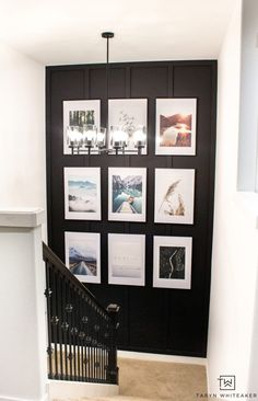 Spruce up your staircase with an oversized gallery wall and accent paint color. Easily create this detailed accent wall with custom cut moulding using HART Tools found at Walmart! Staircase Wall Decor, Staircase Makeover, Stair Decor, Staircase Design, Stair Landing Decor, Staircase Landing, Stairway Decorating, Modern Staircase, Staircase Walls