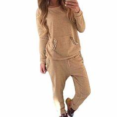 Hibote Chándal Mujeres Traje Suave Cómoda Manga Larga Pullover + Pantalones  Modernos Trajes de Yoga Aptitud e4d7f4d9aba0