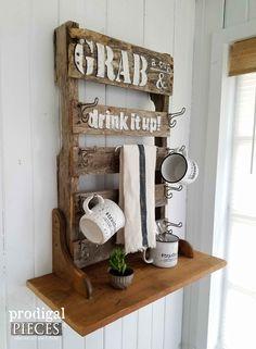 Reclaimed Pallet Wood Mug Rack with Shelf by Prodigal Pieces | prodigalpieces.com