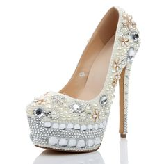 Shoespie - Shoespie Shoespie Appliques Rhinestone Beads Wedding Stiletto Heel Platform Heels - AdoreWe.com