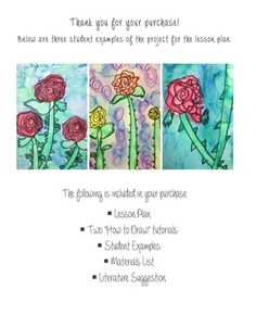 https://www.teacherspayteachers.com/Product/Georgia-OKeeffe-Rose-Lesson-Plan-and-Tutorial-2591810  Teacherspayteachers.com Georgia O'Keeffe Rose Art Lesson Primary Art Lesson Famous Artist Art Lesson How to draw a rose
