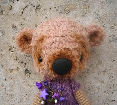 Beige crocheted Teddy Bear free shipping by crochetorium on Etsy