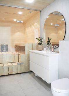 Bathroom Inspo, Laundry In Bathroom, Bathroom Inspiration, Sauna Design, Scandinavian Home, Sweet Home, New Homes, House Design, Interior Design
