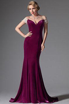 Elegant Off Shoulder V Neck Fuchsia Evening Dress Formal Gown (02146112)