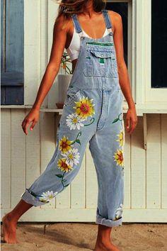 """""""MoneRffi Women Print Denim Jumpsuit Romper Long Trousers Overalls Straps Jumpsuit Autumn Ladies Casual Loose Plus Size Jumpsuits"""" Plus Size Denim Jumpsuit, Jeans Jumpsuit, Denim Overalls Outfit, Petite Jumpsuit, Outfits With Overalls, Overalls Style, Denim Jeans, Overalls Fashion, Overalls Women"""
