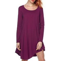 $5.82 Casual Scoop Neck Asymmetrical Long Sleeve Dress For Women - Purple Xl