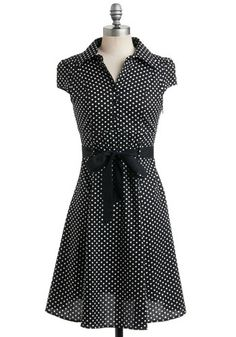 Hepcat Dress in Black Licorice - Black, White, Polka Dots, Work, Casual, Vintage Inspired, Shirt Dress, Cap Sleeves, A-line, Rockabilly, Pinup, Mid-length, Belted, Cotton, Best Seller, Button Down, Collared