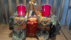Just for Fun!! Redneck picnic basket for a wedding.  Has 1 tablecloth, 2 napkins with name date and wedding logo, 2 redneck wine glasses, 2 cans cheese, box crackers, and 1 bottle of Boone's Farm Wine.