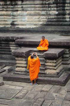 Monks at Angkor Wat Cambodia