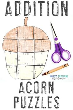 Your 1st, 2nd, and 3rd grade students will love these ADDITION Acorn Puzzles. They're great for the fall months of September, October, and November. Use them with your classroom or homeschool kids. They're great for math centers, stations, actvities, crafts, craftivities, 3rd Grade Classroom, 2nd Grade Math, Grade 3, Second Grade, Math Games, Math Activities, Tree Life Cycle, Ell Students, Halloween Math