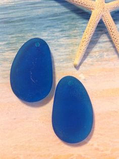 2pc 33x20 mm sea glass Seaglass beads-recycled by SeasideJewelry1