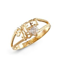 Sweet 15 White CZ 14k Yellow Gold Girls Fashion Ring. -- 80% DISCOUNT & FREE SHIPPING for a limited time!