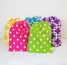 Fabric Treat Bags 5 Pack Goody Bags Party by ColorStyleDesign