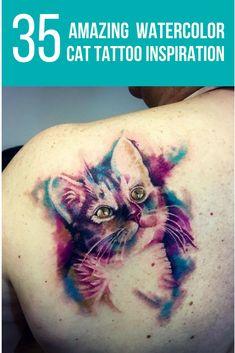 35 Amazing Watercolor Cat Tattoo Inspiration  #tattoo #tattoos #salijabashvilitattoo #ondrashtattoo #mywork #colors #colorfultattoo #blue #red #tattooart #tatooartist #cat #cats  #cattattoo