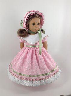 American Girl 18-inch Doll Clothes - Floral Pink/White Dress, Bonnet, and Petticoat