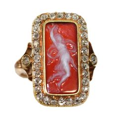 Antique Rose Diamond and Cameo Gold Ring | From a unique collection of vintage fashion rings at https://www.1stdibs.com/jewelry/rings/fashion-rings/