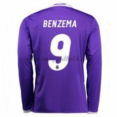 Fodboldtrøjer La Liga Real Madrid 2016-17 Benzema 9 Udebanetrøje Langærmede