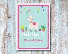 Oo La Llama DIY Printable Children's Birthday Party Invitation