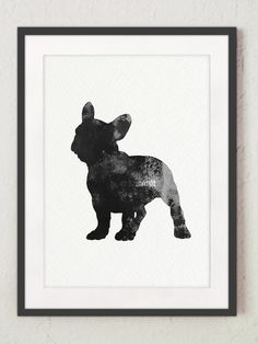 Black Frenchie Poster, Abstract Silhouette Wall Decor, Dog Watercolor Painting, French bulldog Lovers gift Idea, Giclee Print
