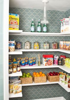Pantry Organization Ideas: Give your pantry additional style by installing wallpaper on the walls or paint them using a stencil.