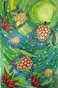 Green Sea Turtles and Red Coral Aboriginal Dot Art, Aboriginal Painting, Aboriginal Artists, Turtle Painting, Dot Art Painting, Sea Turtle Art, Sea Turtles, Arte Tribal, Motif Floral