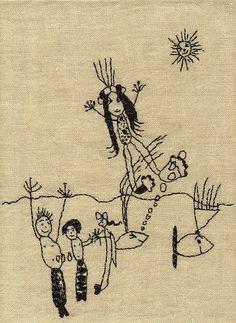 """Mermaids"" - embroidery on linen, Michelle Kingdom"