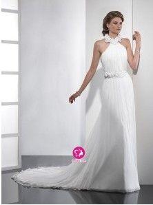 Fourreau Col montant Traîne moyenne Robe de mariée en Mousseline polyester avec Fleurs manuelles Ruché(FR0257954)