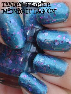 """@TawdryTerrier """"Midnight Lagoon"""" #prototype in the shade - check out our polishes at https://www.etsy.com/shop/TawdryTerrier #tawdryterrier #nailpolish #indienailpolish"""
