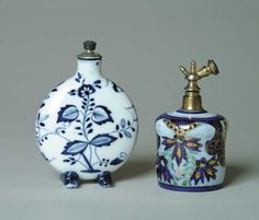 TWO BLUE & WHITE SCENT BOTTLES.